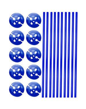 Ballonstokjes met houders Blauw- 10stk