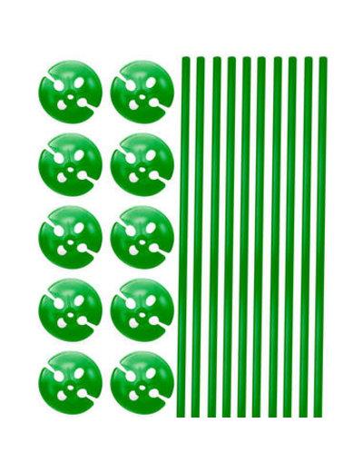Ballonstokjes met houders Groen - 10stk