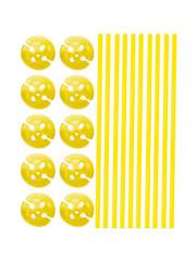 Ballonstokjes met houders Gele - 10stk