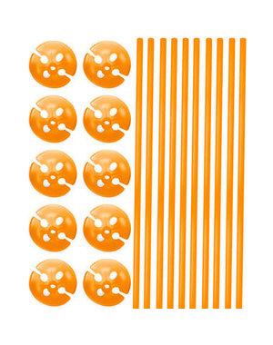Ballonstokjes met houders Oranje - 10stk