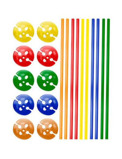 Ballonstokjes met houders Gekleurd - 10stk