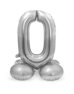 Folieballon Zilver op Standaard - Cijfer 0