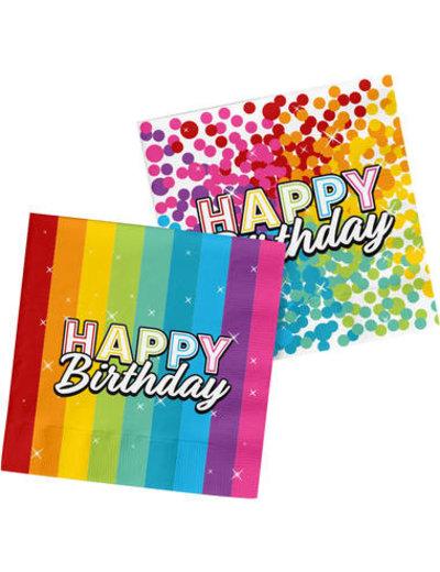 Versiering Servetten Happy Birthday Rainbow