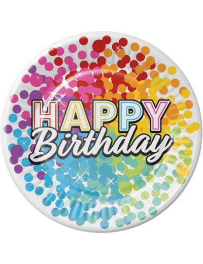 Versiering Bordjes Happy Birthday Rainbow