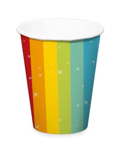 Versiering Bekertjes Happy Birthday Rainbow