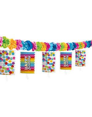Versiering Lampion Slinger Happy Birthday Rainbow