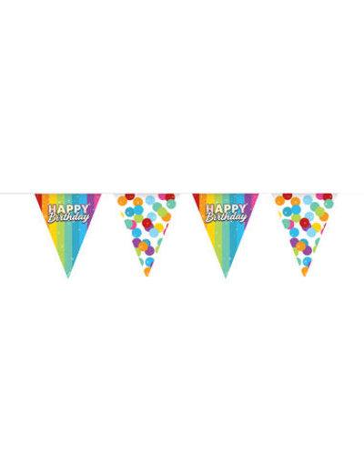 Versiering Vlaggenlijn Happy Birthday Rainbow  - plastic