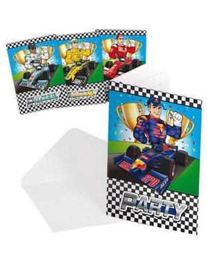 uitnodigingen Formule 1 Uitnodigingen - 8stk