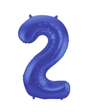 Folieballon Folieballon Blauw Mat Cijfer 2