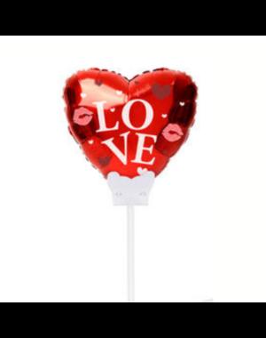 Folieballon Folieballon Hart Rood Love Mini incl Kaartje - 15cm  - Copy