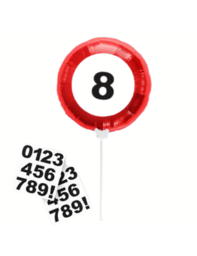 Folieballon Folieballon Verkeersbord Mini incl Stickers - 23cm