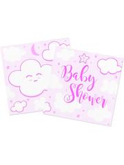 Tafelservies Babyshower Servetten Roze - 20 stk