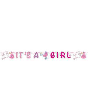 Versiering Letterslinger  It's a Girl - 1,90mtr