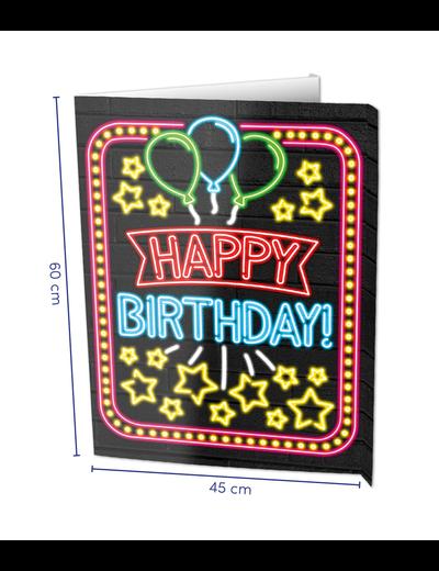 Versiering Window Sign - Happy Birthday Neon