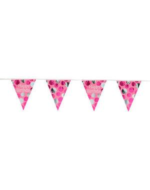 versiering Vlaggenlijn Glossy Pink - 4mtr
