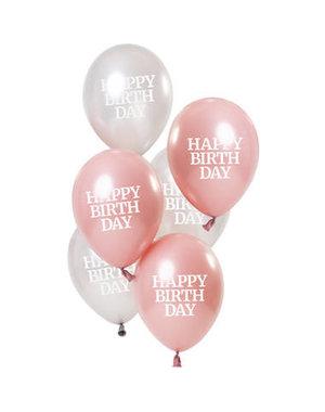 Ballonnen Glossy Pink - Happy Birthday