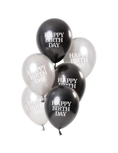 Ballonnen Glossy Black - Happy Birthday