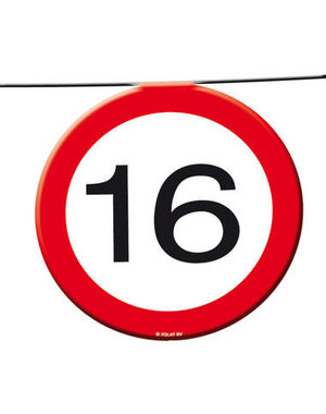 Versiering Vlaggenlijn Verkeersbord - 16 t/m 70 Jaar
