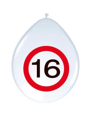 Versiering Ballonnen Verkeersbord - 16 t/m 70 Jaar