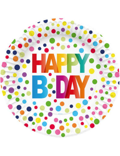 Tafelservies Bordjes Happy Birthday Dots - 8stk