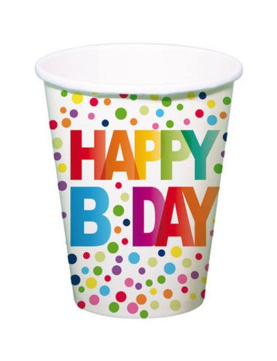 Tafelservies Bekertjes Happy Birthday Dots - 8stk