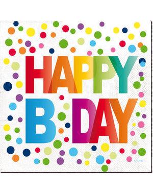Tafelservies Servetten Happy Birthday Dots - 20stk