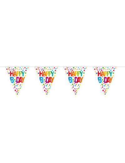 Tafelservies Vlaggenlijn Happy Birthday Dots - 10mtr