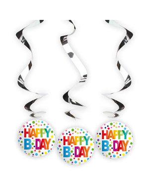 Tafelservies Hangdecoratie Happy Birthday Dots -3stk