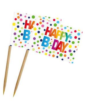 Tafelservies Prikkers Happy Birthday Dots - 50stk