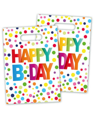 versiering Traktatiezakjes Happy Birthday Dots - 8stk