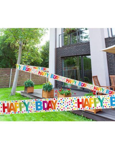 versiering Afzetlint Happy Birthday Dots - 15mtr