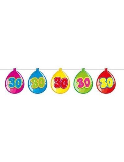 versiering Gekleurde  Ballonnen Slinger 30 Jaar