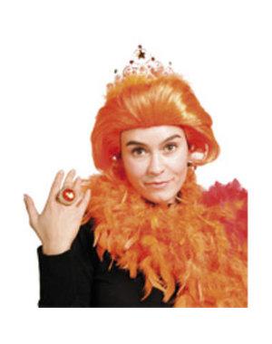Accessoires Oranje Pruik met Kroontje