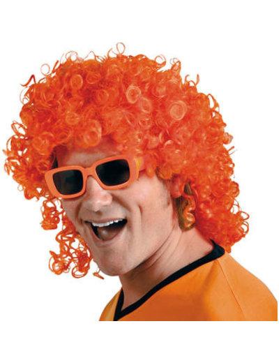 Accessoires Oranje Pruik met krullen