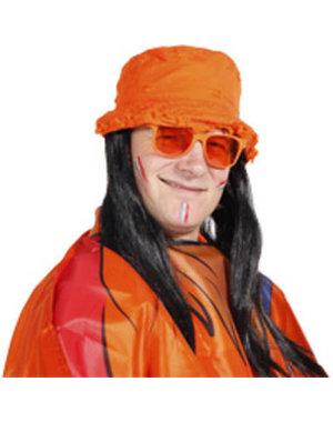 Accessoires Oranje Hoed met zwart haar
