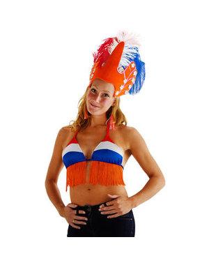 Kostuum Bikini Top Rood/Wit/Blauw/Oranje