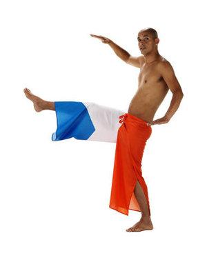 Kostuum Capoeira Vlagbroek Rood/Wit/Blauw