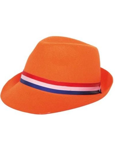 Accessoires Oranje Trilby Hoed met Rood/Wit/Blauwe Band