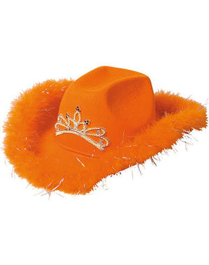 Accessoires Oranje Cowboyhoed Deluxe met LED