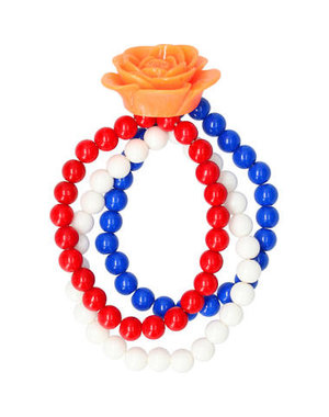 Accessoires Armband Roos Rood/Wit/Blauw
