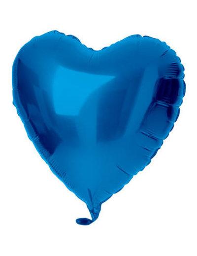 Folieballon Folieballon Blauw Hart - 45cm