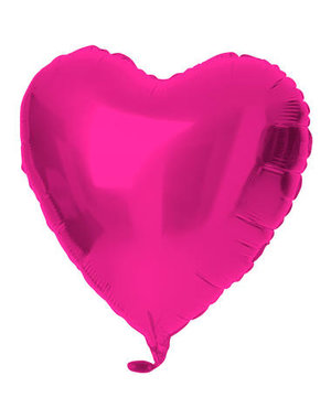 Folieballon Folieballon Magenta Roze Hart - 45cm