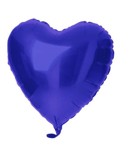 Folieballon Folieballon Hart Metallic Mat Blauw - 45cm