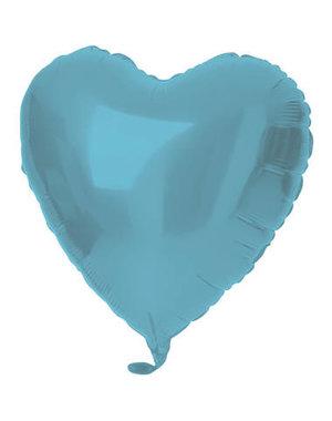 Folieballon Folieballon Hart Metallic Mat Pastel Blauw - 45cm