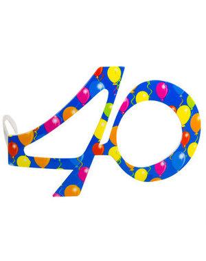 Accessoires Bril Balloons 40 Jaar  - Blauw