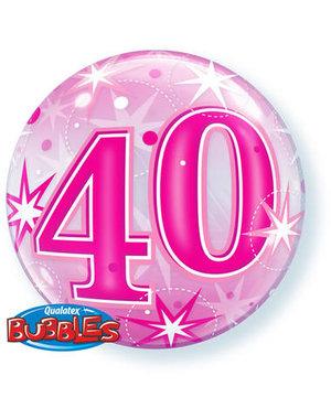 Ballon Bubbles Balloon Stars Roze - 40 Jaar