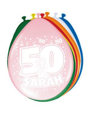 Ballonnen Ballonnen 50 jaar Sarah Gekleurd  - 8stk