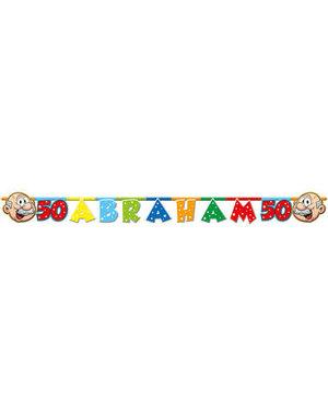 Versiering Letterbanner Regenboog Abraham 50 jaar
