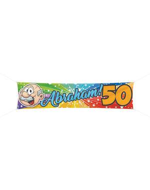 Versiering Spandoek Regenboog 50 jaar Abraham