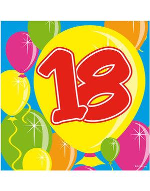 Versiering Servetten Kroonleeftijden Balloons - 18 t/m 60 Jaar